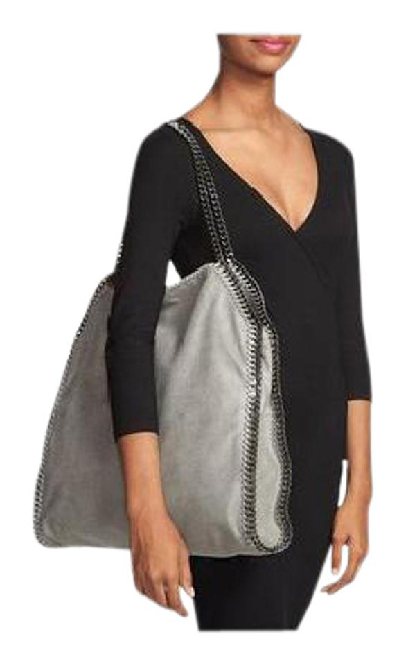 3696f15745 Stella McCartney Falabella Large Grey Gray Silver Chain Vegan Shaggy Deer  Faux Leather Tote