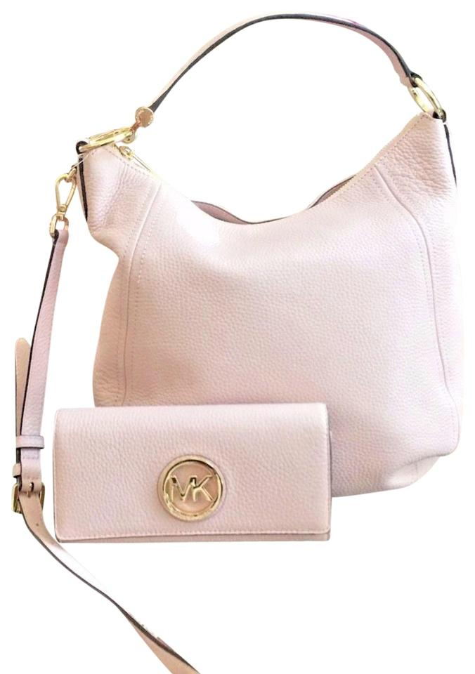 366b926b61127e Michael Kors Fulton Large Shoulder Handbag+wallet Set Blossom Pebbled  Leather Cross Body Bag