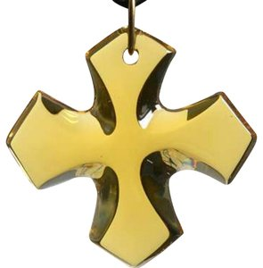 Baccarat Crystal Occitan Cross Pendant-Amber w/ SUEDE NECKLACE Boxed