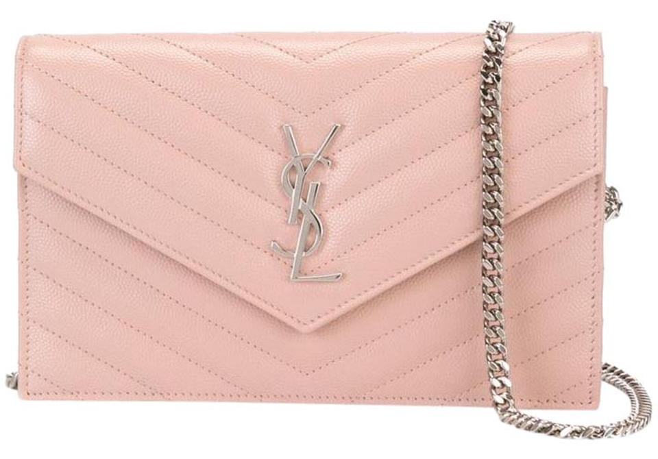 4c5a11ad8 Saint Laurent Chain Wallet Marked Down - Pale Pink Textured Leather ...