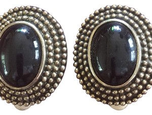 Les Bernard Vintage Les Bernard Clip Style Earrings With Black Cabachon Marked