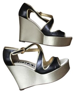 Rochas Silk Leather Sandal Cocktail Navy, Gold Wedges