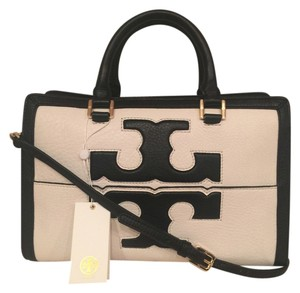 Tory Burch Pebbled Leather Large T Logo Satchel in Ivory/Black