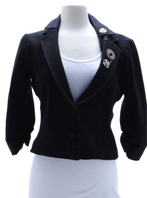 LaROK Embellished With Cristals Cropped Cotton Size L Black Jacket Image 2