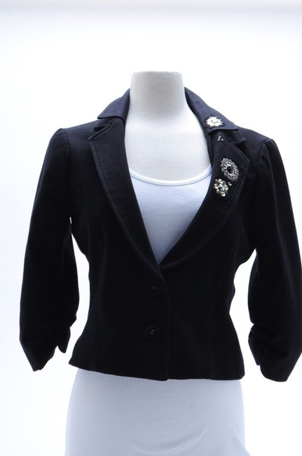 LaROK Embellished With Cristals Cropped Cotton Size L Black Jacket Image 4