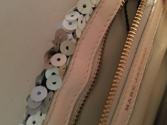 Marc Jacobs Ivory Sequin Shearling Satchel in Off-white