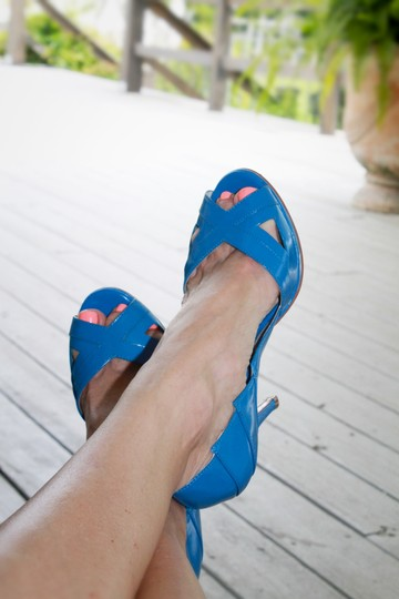 Ted Baker Chic Peep Toe Heels Blue Pumps
