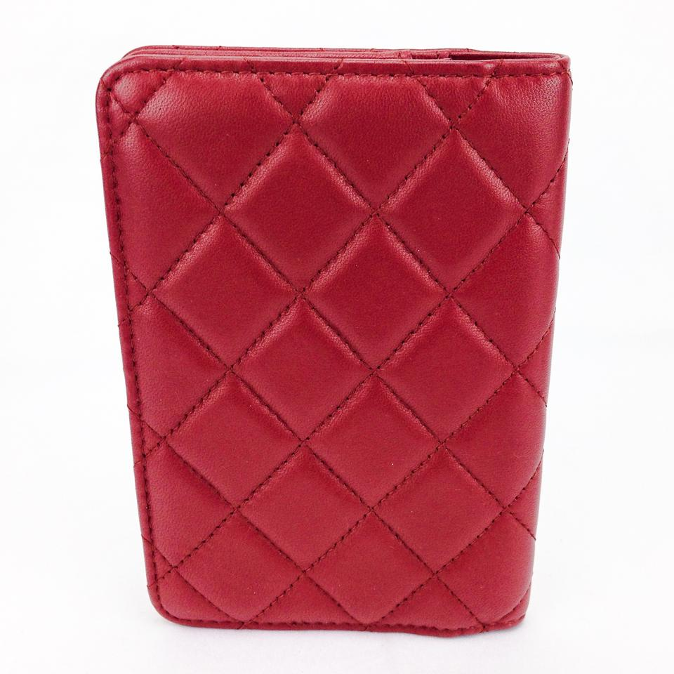 8b5426b5496c9a Chanel Chanel Red Quilted Lambskin Leather Agenda Passport Holder Image 7.  12345678. 1 ∕ 8