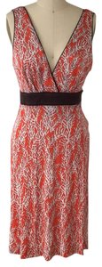 Tory Burch short dress brown ivory coral on Tradesy