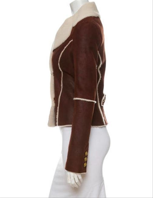 Faith Connexion Shearling Leather Gold Buttons Brown Leather Jacket