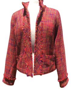Coldwater Creek Tweed Pockets Open Front Long Sleeves Red multi Blazer
