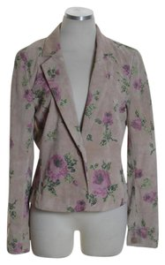 Wendy Hil Leather Long Sleeve Suede Floral Pink Jacket