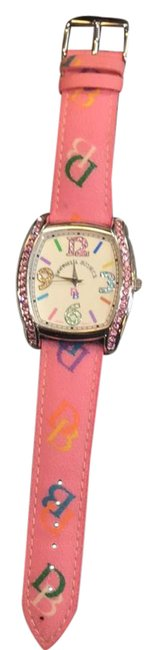 Item - Silver with Pink Leather Band Bling Watch