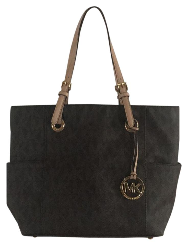 75ee678a7a1a Michael Kors Jet Set East West Signature Brown Leather Tote - Tradesy