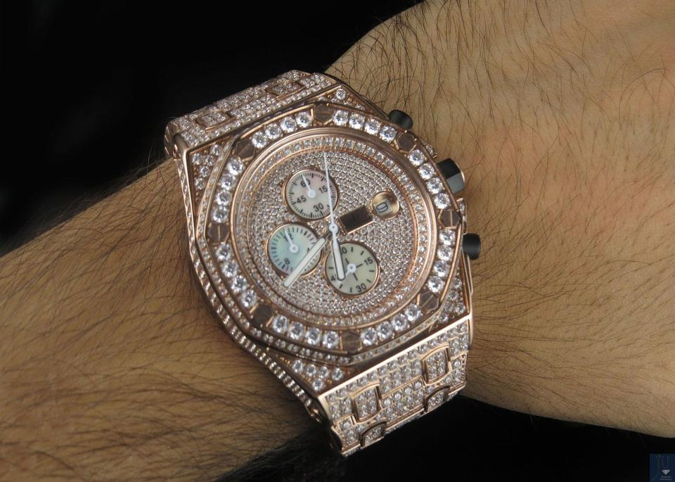 ba3f0eb5b1928 Jewelry Unlimited Rose Stainless Steel Mens Gold Simulated Diamond Wrist  43mm Watch 84% off retail