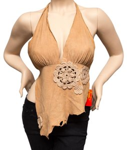 Ingwa Melero Suede Leather Sexy Raw Tan Halter Top