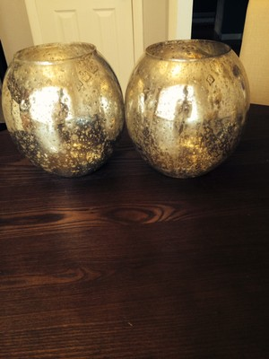 large silver mercury glass round vases set of 2 tradesy weddings. Black Bedroom Furniture Sets. Home Design Ideas