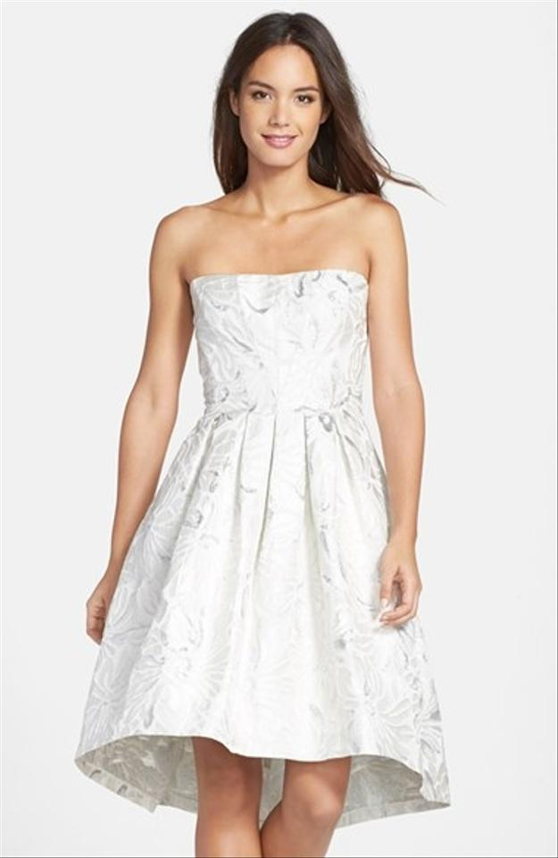 Vera Wang Silver/Ivory Silver/Ivory Metallic High-low Cocktail Dress ...