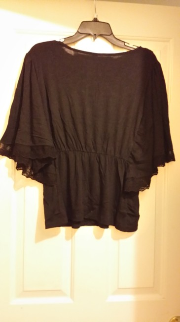Free Culture Lace Trim Top Black