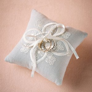 BHLDN Dove Grey Stitched Ring Pillow