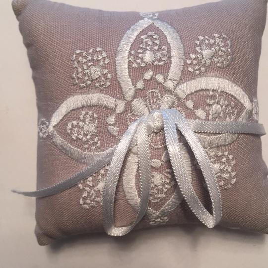 BHLDN Dove Grey Stitched Ring Pillow Image 3