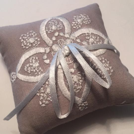BHLDN Dove Grey Stitched Ring Pillow Image 4
