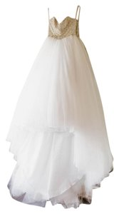 Maggie Sottero White/Silver Tulle 3ms745 Formal Wedding Dress Size 6 (S)