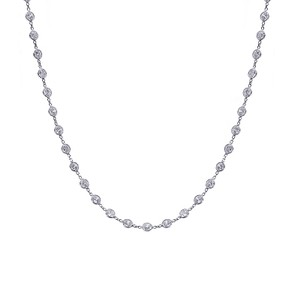 Avital & Co Jewelry 14k White Gold 14.00 Carat Round Cut Cz Diamonds By The Yard Necklace
