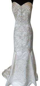 Casablanca Ivory/Silver Satin 2124 Wedding Dress Size 14 (L)