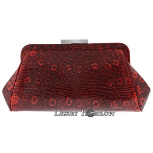 Tiffany & Co. New Authentic Tiffany & Co Madison Red Print Lizard Clutch Bag