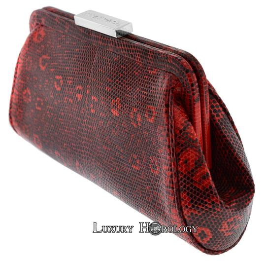 Tiffany & Co. New Authentic Tiffany & Co Madison Red Print Lizard Clutch Bag Image 2