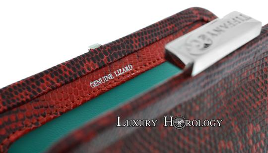 Tiffany & Co. New Authentic Tiffany & Co Madison Red Print Lizard Clutch Bag Image 5