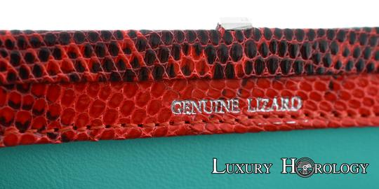 Tiffany & Co. New Authentic Tiffany & Co Madison Red Print Lizard Clutch Bag Image 6