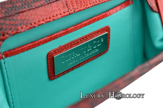 Tiffany & Co. New Authentic Tiffany & Co Madison Red Print Lizard Clutch Bag Image 8