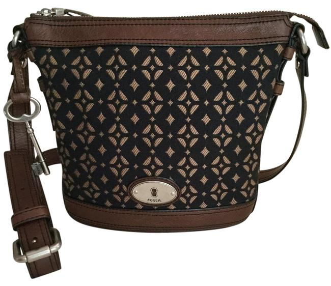 Item - Crossbody Maddox Tapestry Black/Brown Textile & Brown Leather Cowhide Hobo Bag