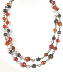 David Yurman DAVID YURMAN STERLING SILVER PERSIMMON BROWN BEAD AND POPCORN 40