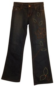 BluJeanious Faded Distressed Embellished Classy Pattern Boot Cut Jeans-Dark Rinse