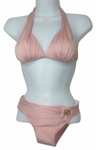 Other 2 Piece Women's Padded Top Gold Accent Bottom Swimwear Color Blush Size SMALL