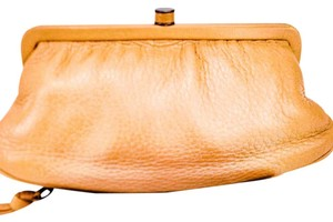 Bottega Veneta Pebbled Leather Frame Clasp Pocket Beige Clutch