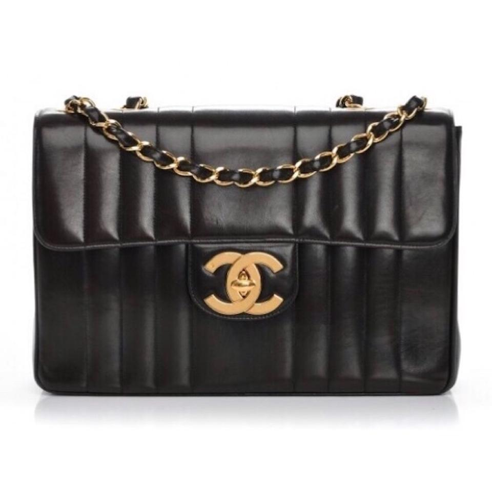 3ffe223b8fbc Chanel Classic Mademoiselle XL Vintage Jumbo Vertical Quilted Maxi Flap  1990's Ghw Black Lambskin Leather Shoulder Bag