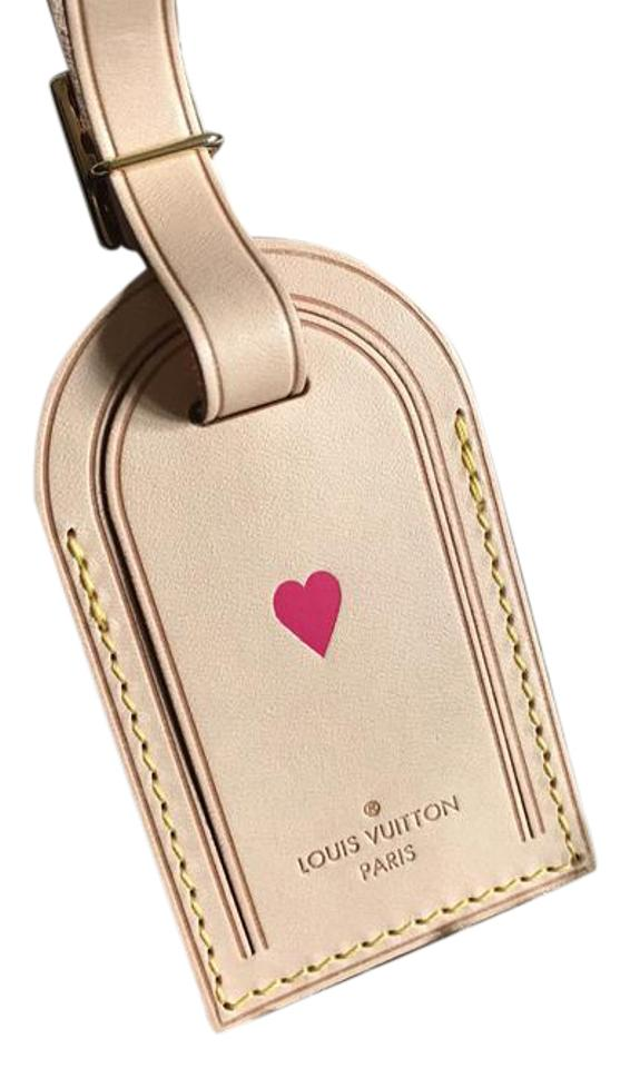 3caadf1cd322 Louis Vuitton NEW! LOUIS VUITTON Tan Vachetta LARGE Luggage Tag Hot Pink Heat  Stamp Image ...