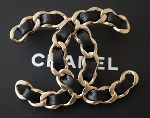 Chanel Classic Black Lambskin Leather Pale Gold Metal Chain Brooch/Pin