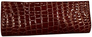 Bijoux Terner Patent Leather Mock Croc Crocodile Rich Chocolate Brown Clutch