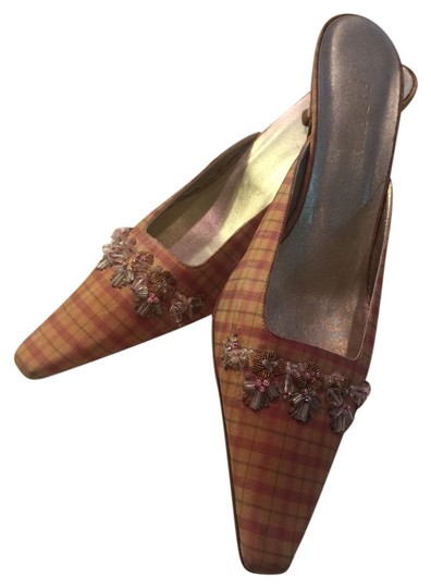Badgley Mischka pink plaid with beading Mules