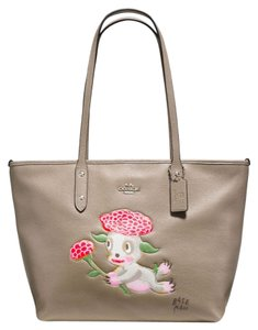 Coach Limited Edition X Baseman Monster Rare Leather Tote in Grey