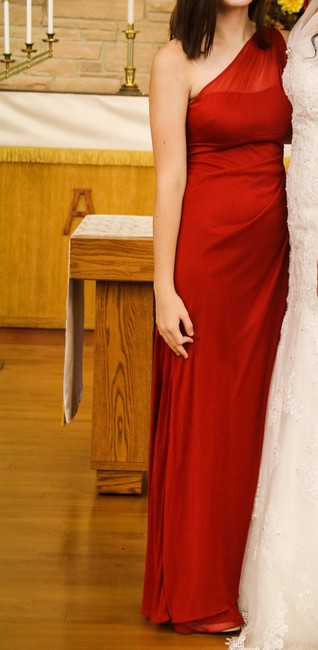 Item - Red Mesh Off Shoulder Casual Bridesmaid/Mob Dress Size 6 (S)
