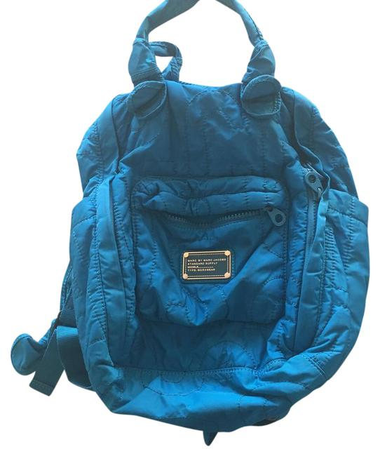 Item - Quilted Turquoise Blue Nylon Backpack