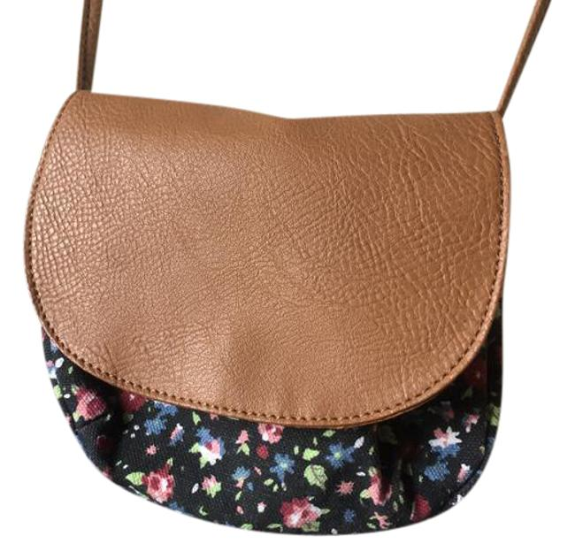 Item - Micro Floral Brown Leather Purse Black Linen Shoulder Bag