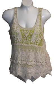 Charlotte Russe Crochet Jeans Top Lace with Lime Green Lining