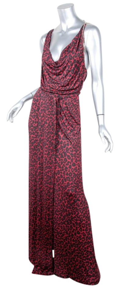 158df4969 Gucci Black & Red Red+black Rayon Leopard Print Halter Maxi Long ...